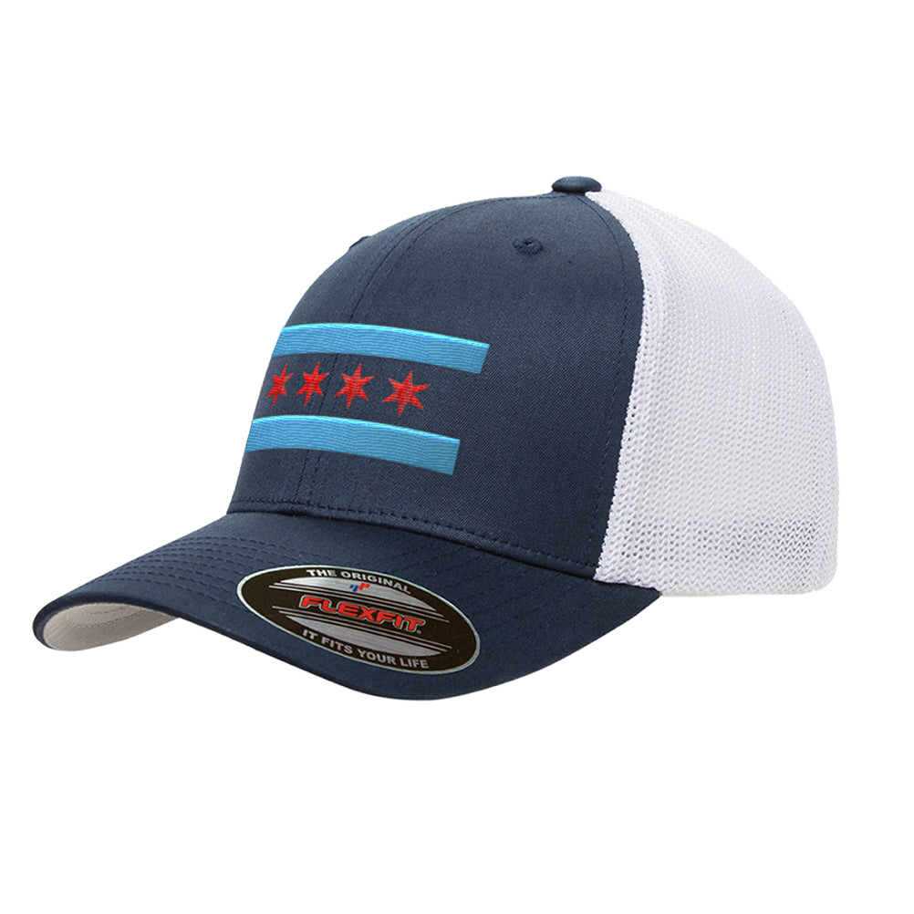 Chicago Flag Mesh Snapback Premium Retro Trucker Cap Hat 6606