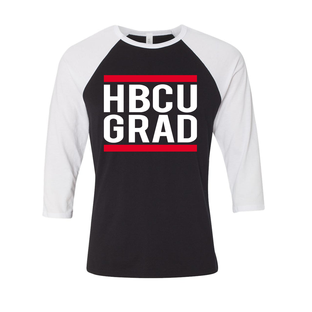 HBCUGRAD Baseball Tee - Black/White