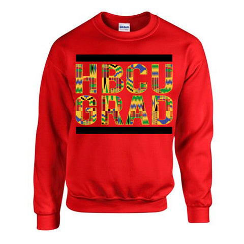 HBCU Grad | Kente Cloth 2 | Sweatshirt - Red