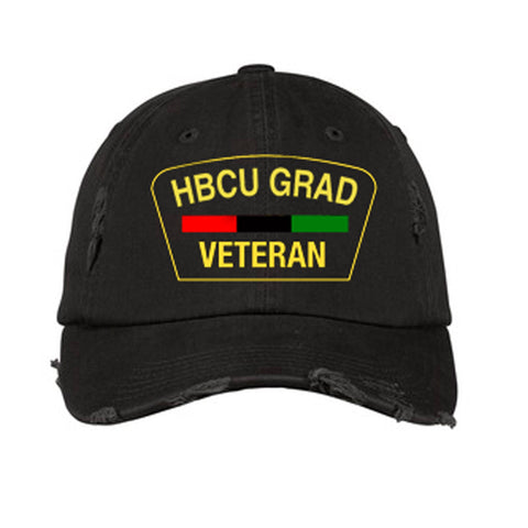 HBCU Grad | Veteran Edition | Distressed Cap - Black