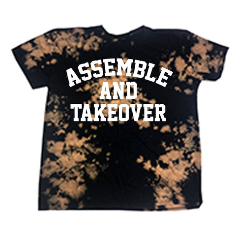 Assemble & Takeover Bleached Tee - Black