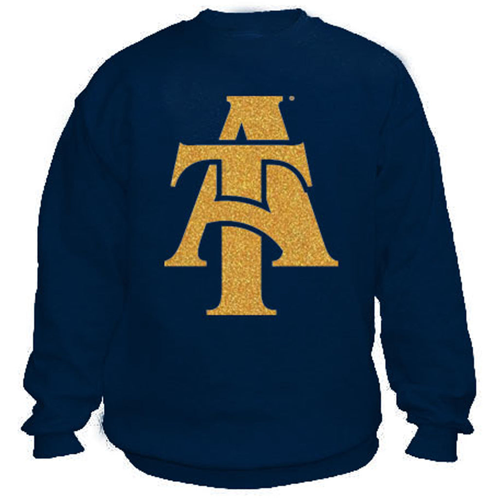 HBCU | Gold Glitter Flake | Sweatshirt - Navy Blue