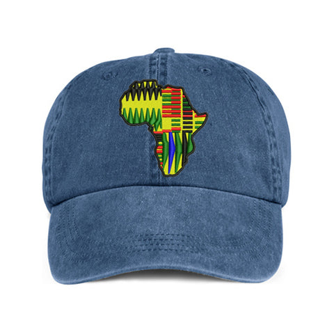 Historically Black | Kente Continent | Ball Cap - Denim
