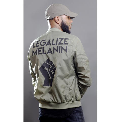 Historically Black | Legalize Melanin | Lightweight Bomber Jacket - Military Green