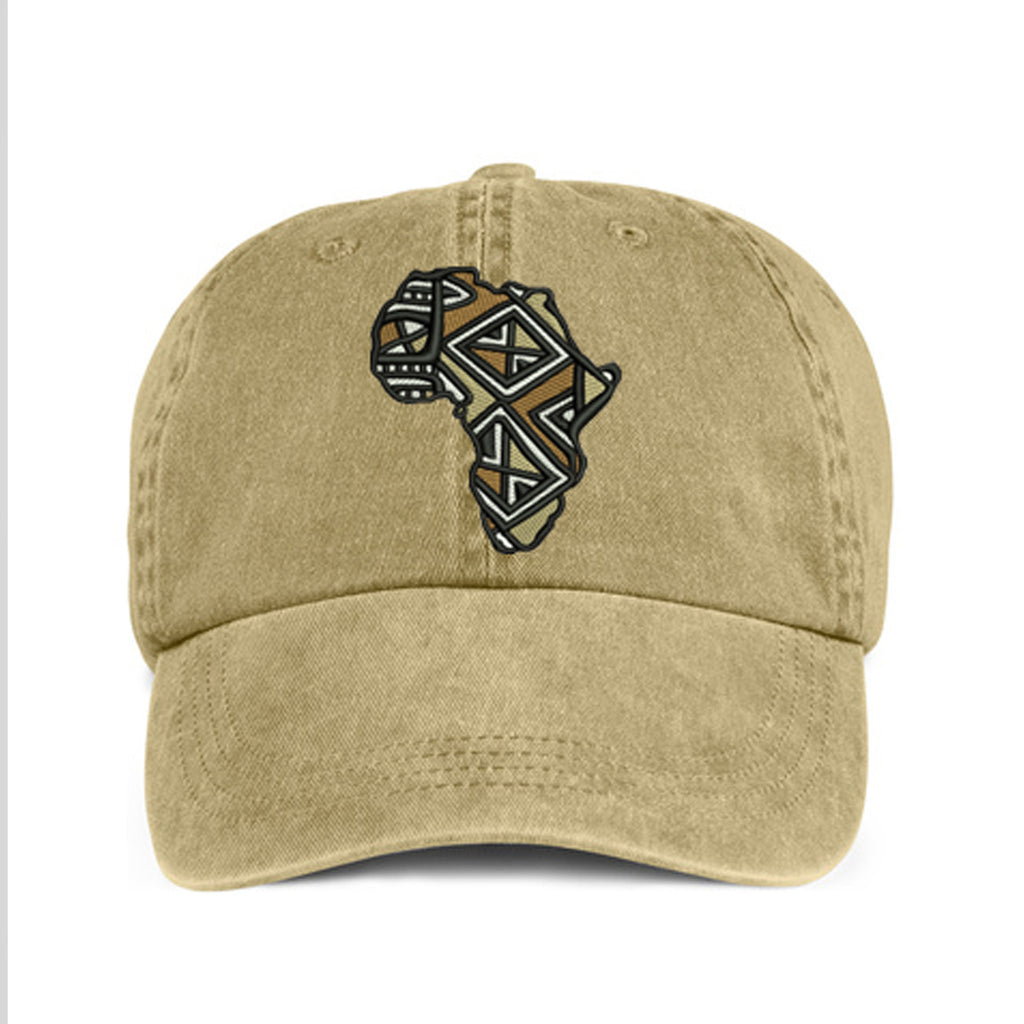 Historically Black | Mudcloth Continent | Ball Cap - Khaki