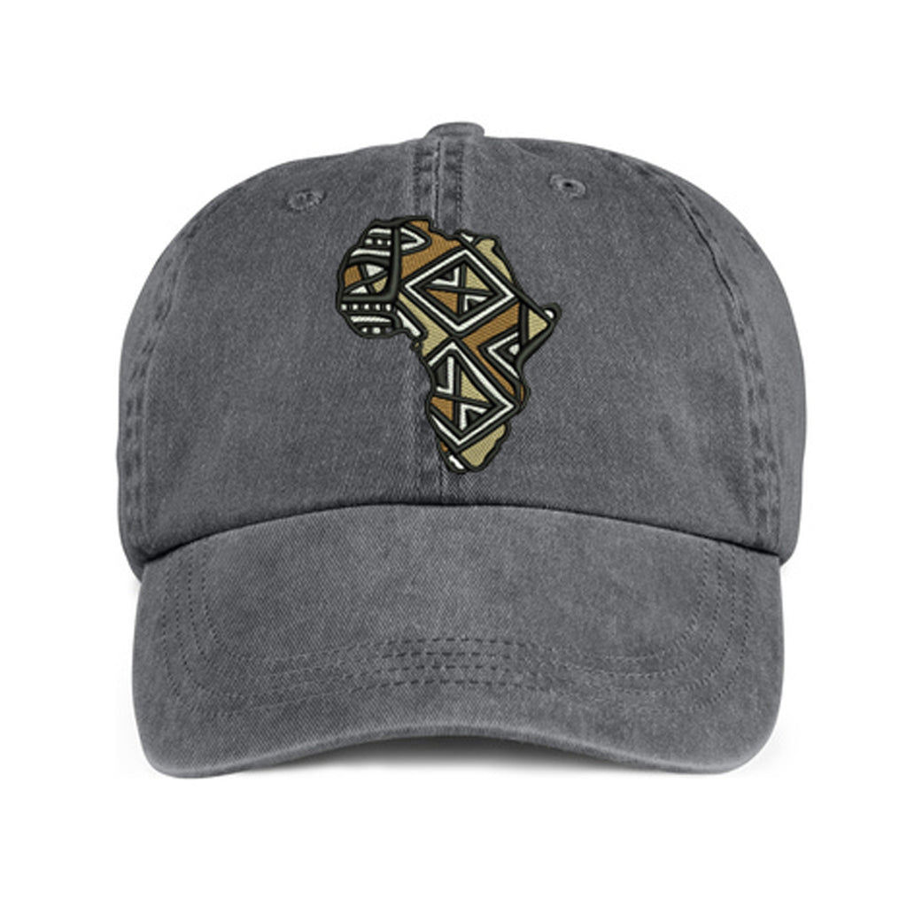 Historically Black | Mudcloth Continent | Ball Cap - Gray