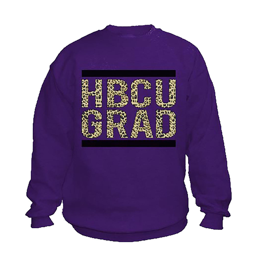HBCU Grad | Black Leopard | Sweatshirt - Purple