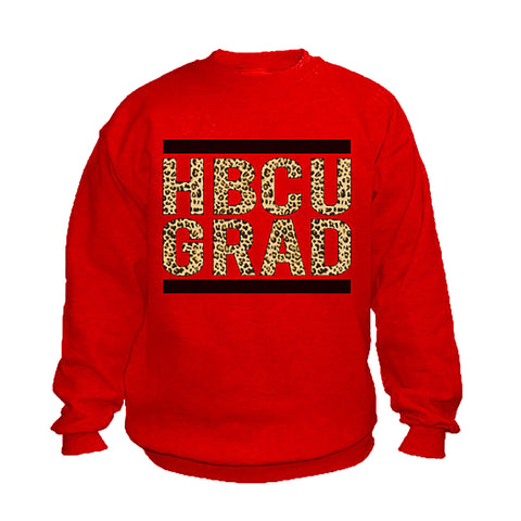 HBCU Grad | Black Leopard | Sweatshirt - Red