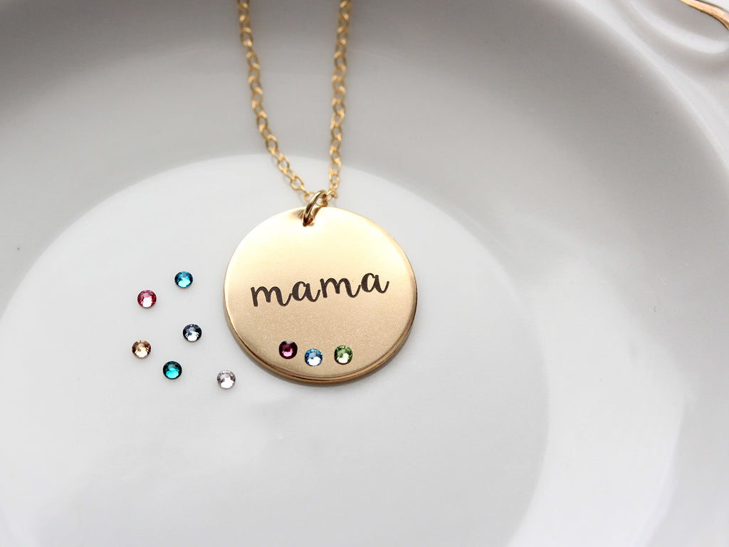 Engraved Disc Necklace with Birthstones