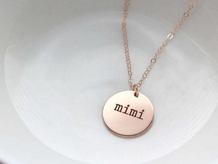 "5/8"" Engraved Disc Necklace"