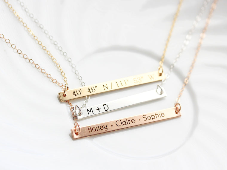 Engraved Bar Necklace: Thin Bar