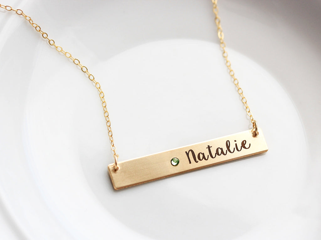 Engraved Birthstone Bar Necklace: Thick Bar