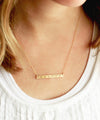 Engraved Birthstone Bar Necklace | Thin Bar
