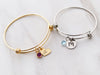 Initial and Birthstone Bangle