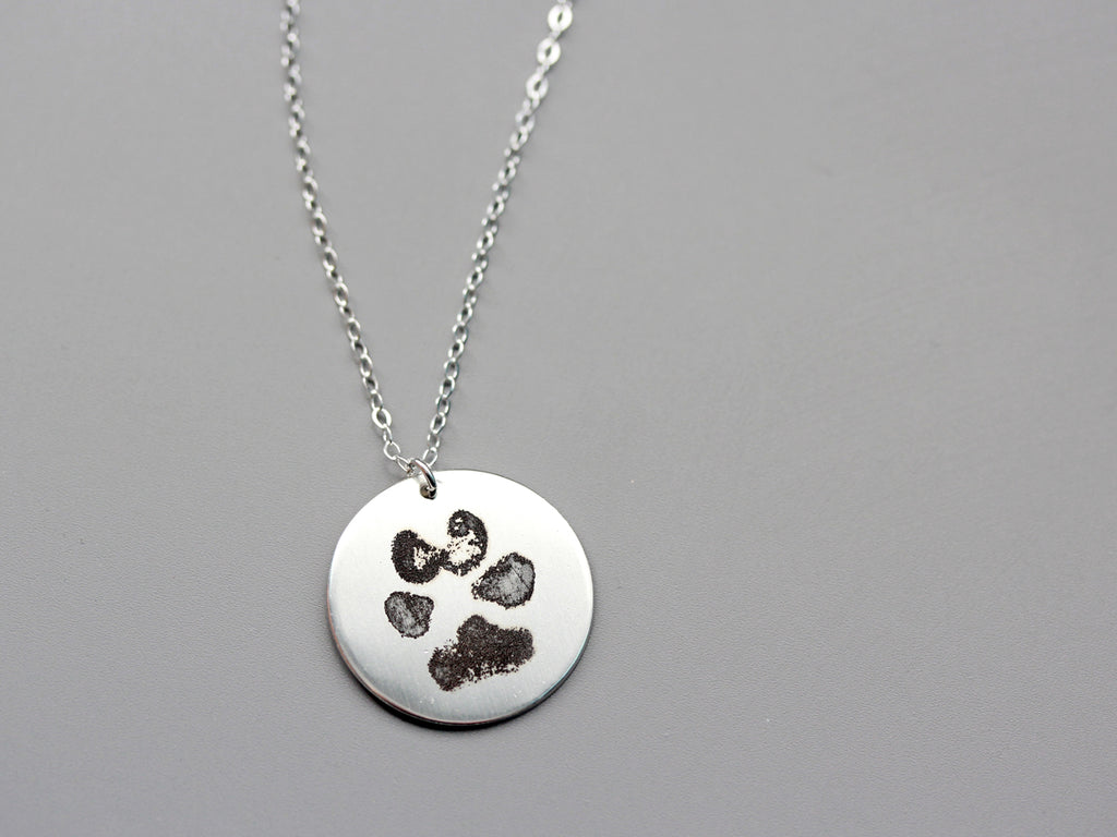 jewelry srn silver sterling pendant dog animal lover print paw bling necklace pawprints