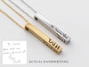 Men's 4 Sided Handwriting Bar Necklace