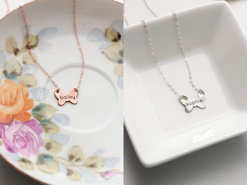 Engraved Butterfly Necklace
