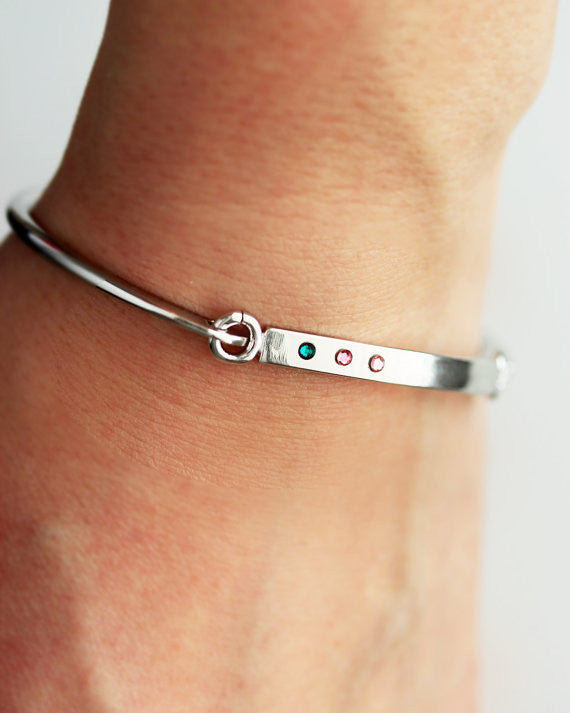 Swing Top Birthstone Bangle Bracelet