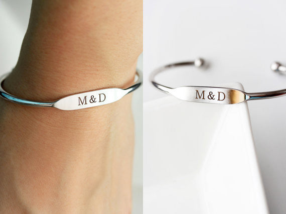 Engraved Flat Top Cuff Bracelet