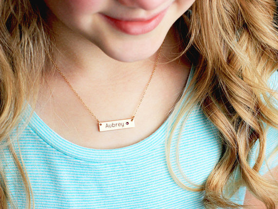 Children's Engraved Bar Necklace with Birthstone