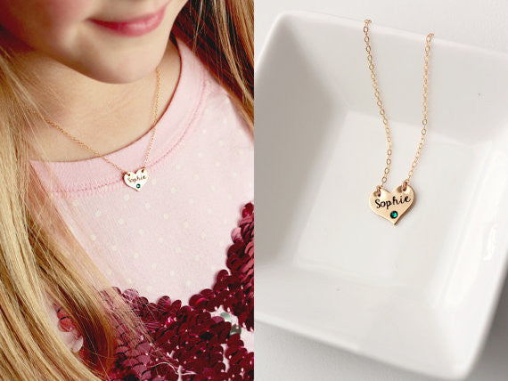 Children's Engraved Heart Necklace