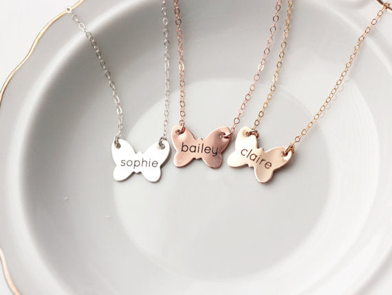 Children's Engraved Butterfly Necklace