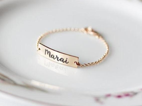 Children's Engraved Bracelet, Thick Bar