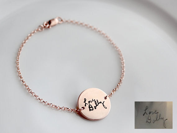 Handwriting Disc Bracelet