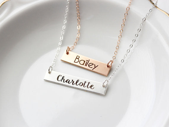 Children's Engraved Bar Necklace