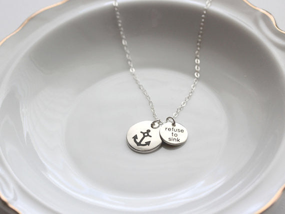 "1/2""+ 3/8"" Engraved Disc Necklace"