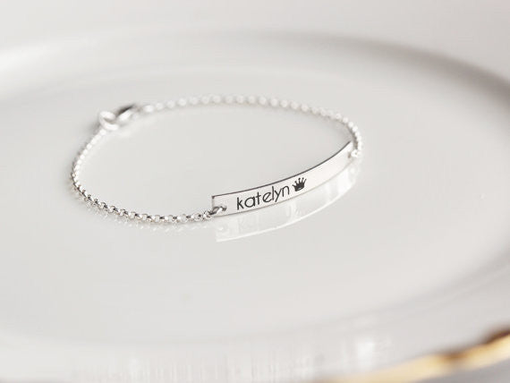 Children's Engraved Bracelet, Thin Bar