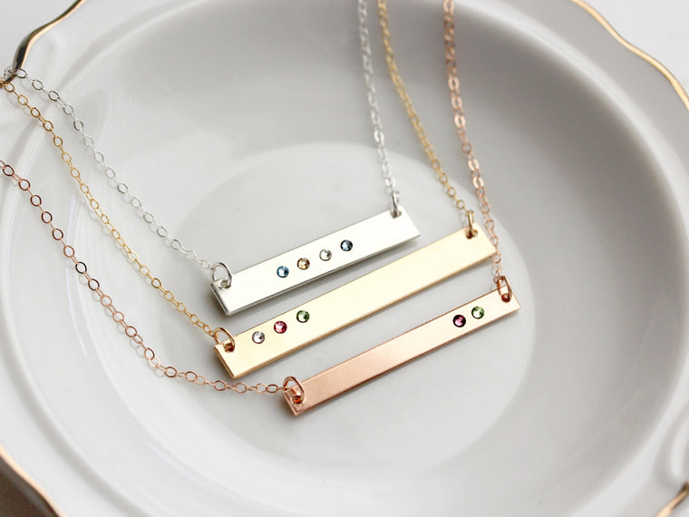 Birthstone Bar Necklace: Thick or Thin Bar