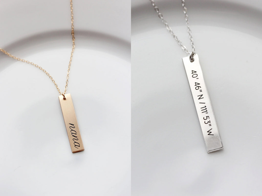 Personalized Thick Gold Bar Necklace