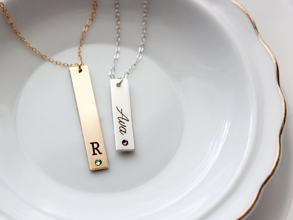 Engraved Birthstone Thick Bar Necklace