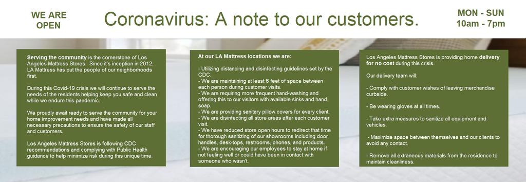 Coronavirus Covid-19 Virus : Note to our customers.