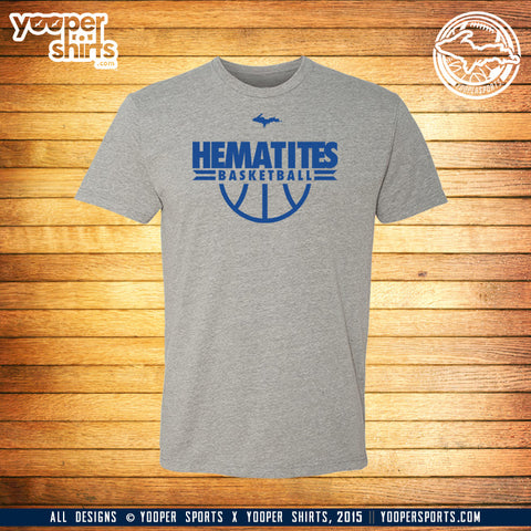 """HEMATITES BASKETBALL"" Heather Grey T-Shirt"