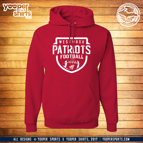 """WESTWOOD FOOTBALL"" Red Hoodie"