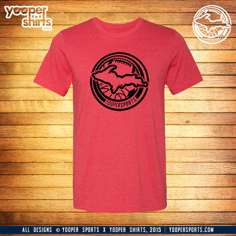 """YOOPER SPORTS"" Heather Red T-Shirt"