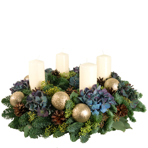 Blue Hydrangea Advent Wreath