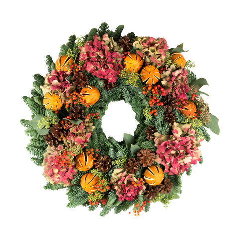 Red Hydrangea and Orange wreath