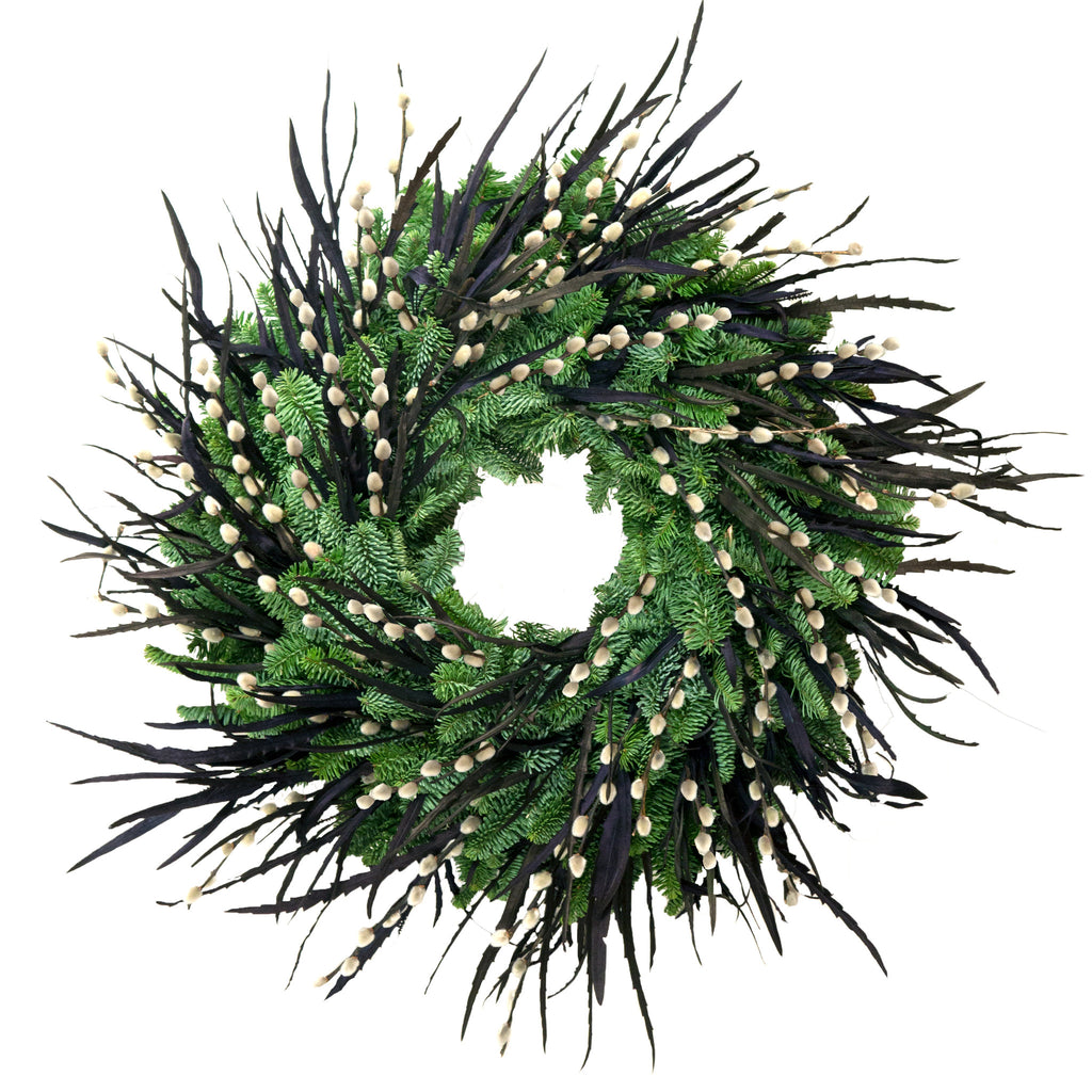 Black Gevillia and Pussiwillow Wreath