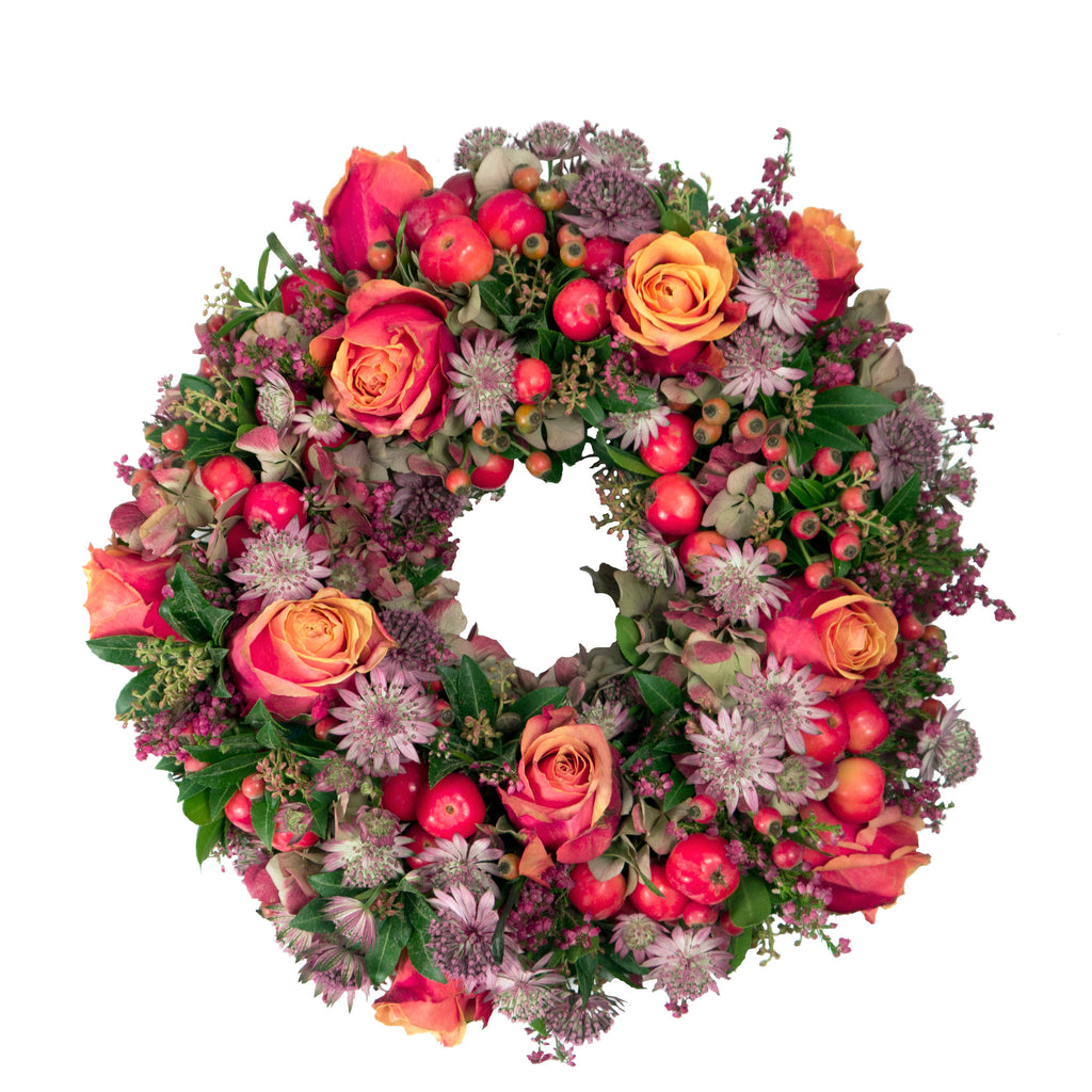 Fresh Cherry Brandy Rose wreath