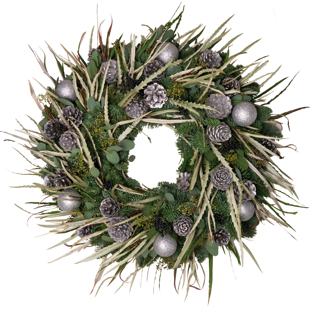 Silver Bauble and Grevillia Wreath