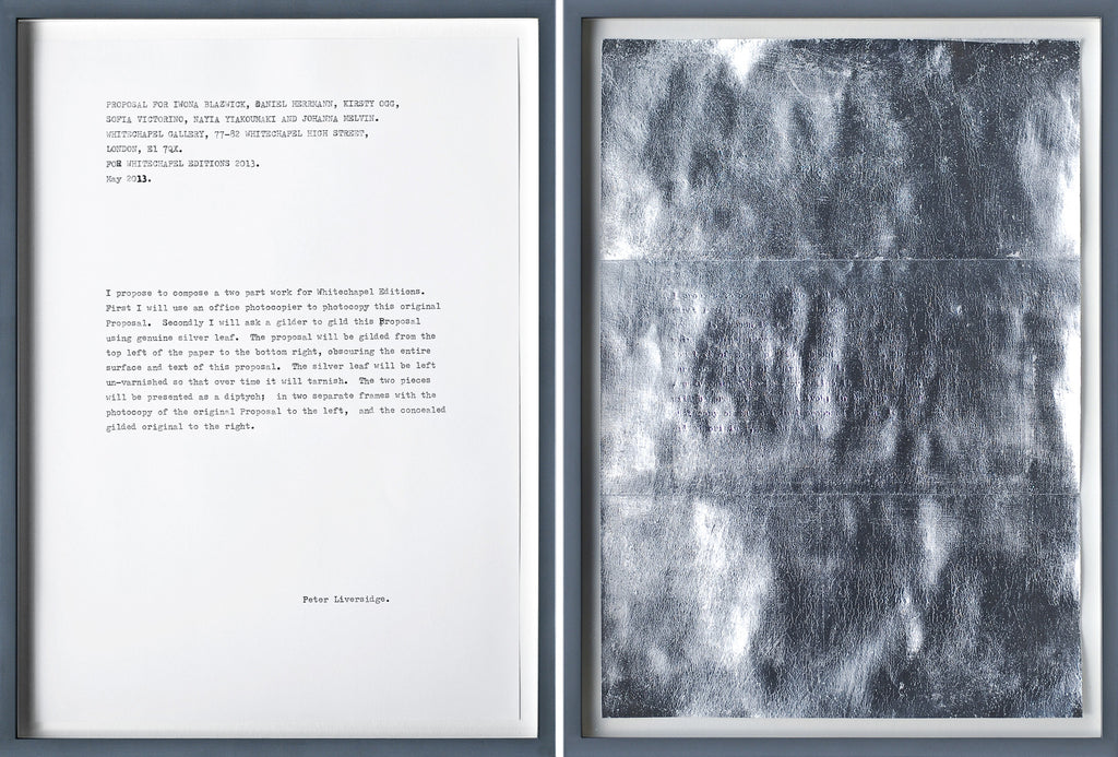 Peter Liversidge | Proposal for Whitechapel Editions (2013)