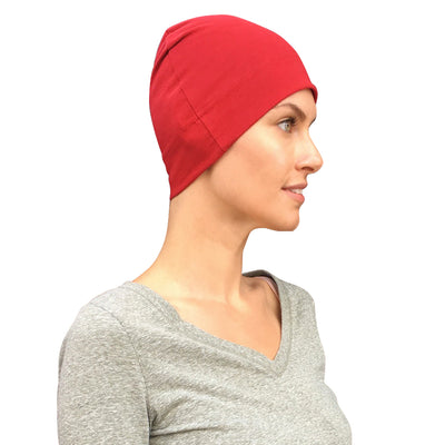 Cate and Levi Comfort and Courage Premium Red Headwear | Chemo Caps | Hats for Cancer Patients - Cate and Levi