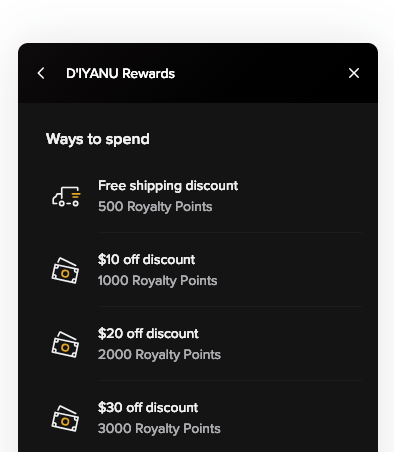 D'IYANU Royalty Rewards Program