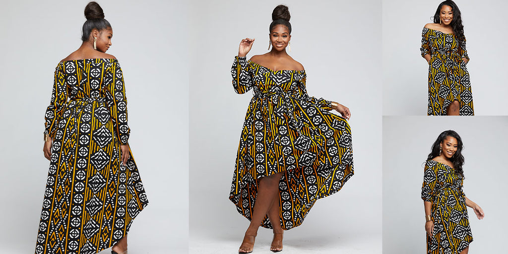 Afua African Print High-Low Off-Shoulder Maxi Dress