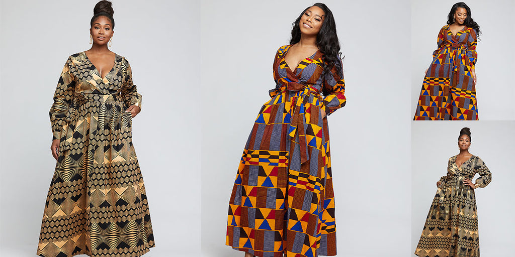 Bahati African Print Puff Sleeve Maxi Dress