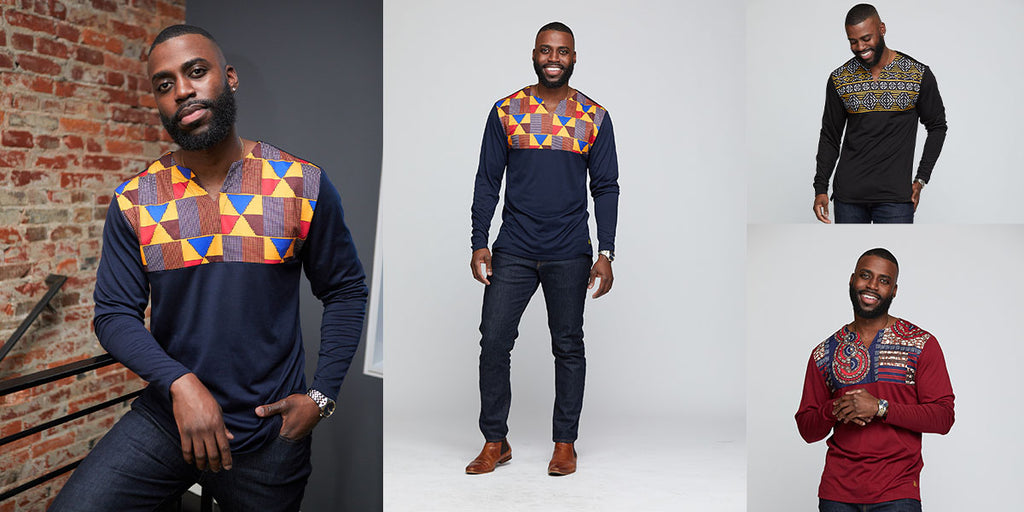 Bomani Men's African Print Long Sleeve V-neck Tee