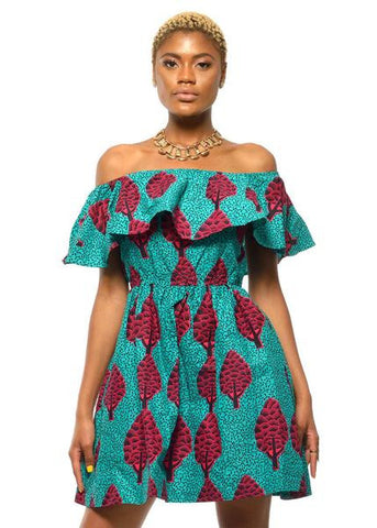 african print dress ruffled